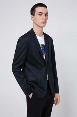 Slim-fit jacket in windowpane-check jersey, Patterned
