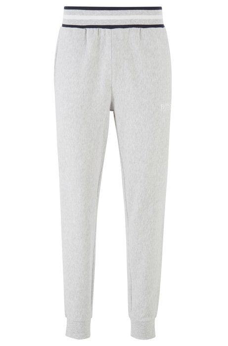 Loungewear trousers in needle-rib cotton jacquard, Grey