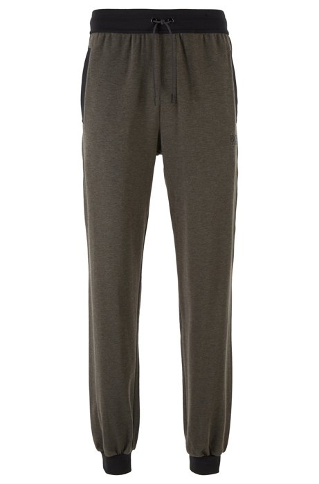 Loungewear trousers in stretch cotton with silk, Grey