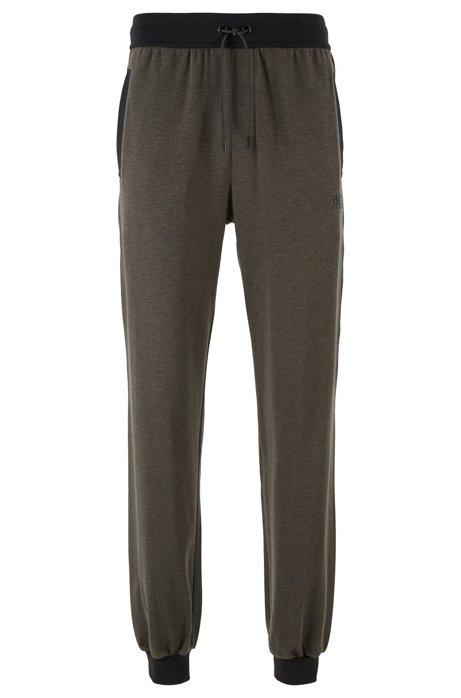 Pantaloni per l'abbigliamento da casa in cotone elasticizzato con seta, Grigio