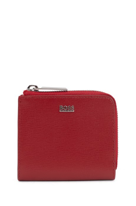 Zip-around wallet in Italian saffiano leather, Red