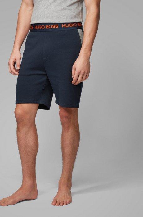 Bermuda per l'abbigliamento da casa in piqué di cotone con logo in vita, Blu scuro