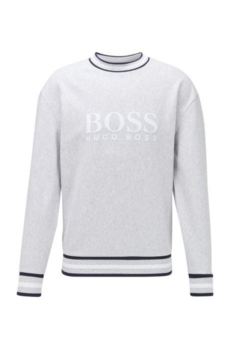 Loungesweatshirt met logo in een katoenen jacquard met een fijne ribstructuur, Grijs