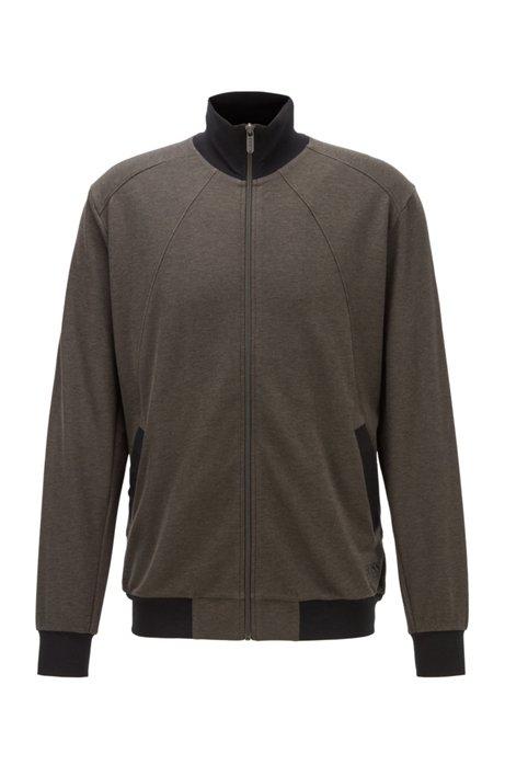 Loungewear-Jacke aus Stretch-Baumwolle mit Seide und Stehkragen, Grau