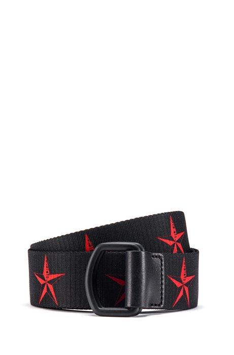 Italian-made webbing belt with five-point star motif, Black