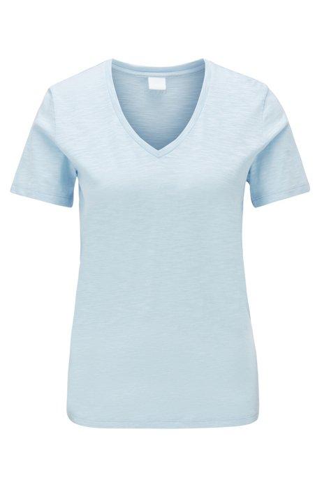 T-shirt en coton flammé à colV, Bleu vif