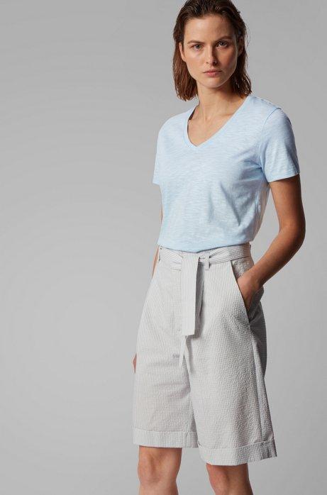 V-hals T-shirt van slubkatoen, Lichtblauw