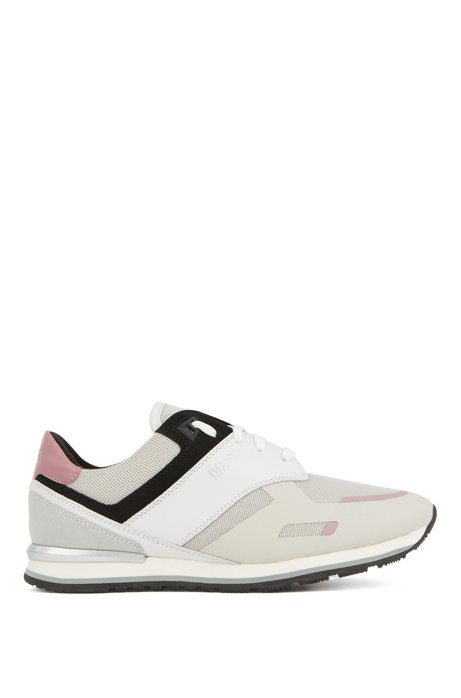 Low-top trainers with leather panels and rubber sole, White