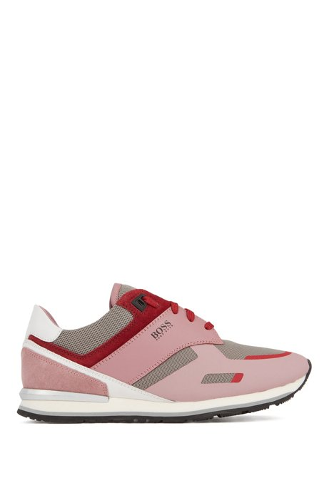 Low-top trainers with leather panels and rubber sole, light pink