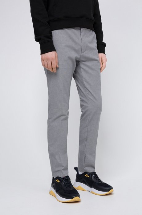 Extra-slim-fit trousers in Vichy-check stretch cotton, Light Grey