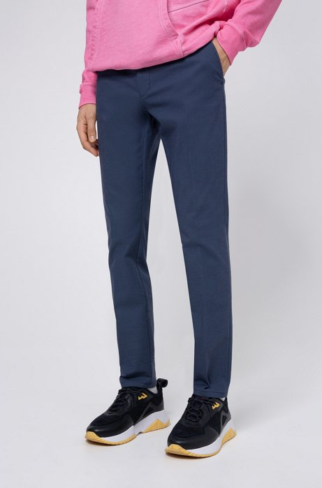Extra-slim-fit trousers in Vichy-check stretch cotton, Blue