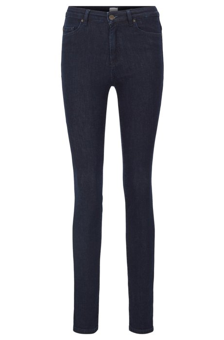 Skinny-fit jeans in rinse-washed red-cast stretch denim, Dark Blue