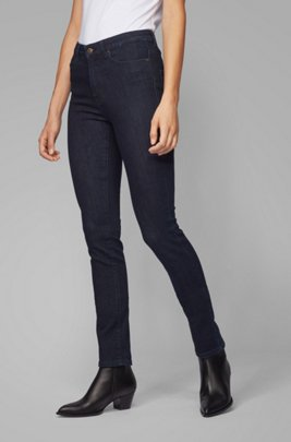 Jean Skinny Fit en denim stretch red-cast délavé, Bleu foncé