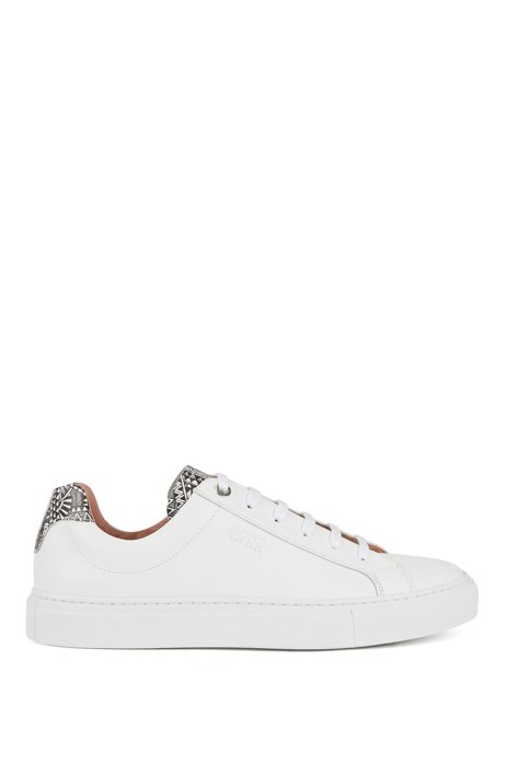 Low-top trainers in calf leather with collection print, White