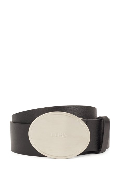 Italian-leather belt with oval buckle, Black