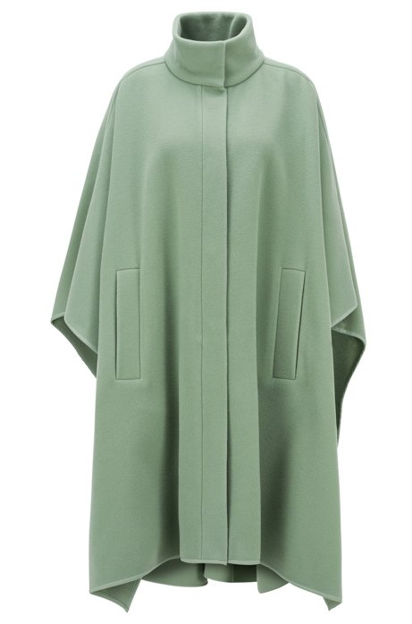 Oversized-fit poncho in a felted wool blend, Light Green