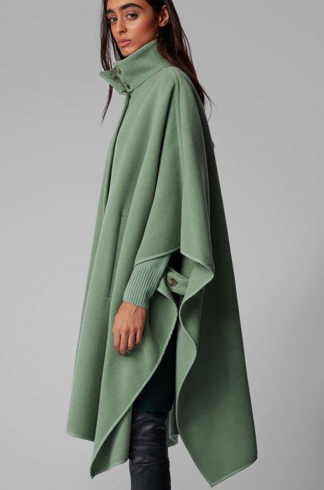 Poncho Oversized Fit en laine feutrée mélangée, Chaux