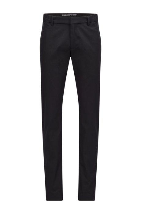 Slim-fit trousers in a cotton blend with taped pockets, Zwart