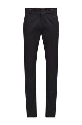 Slim-fit broek van een katoenmix met bieszakken, Zwart
