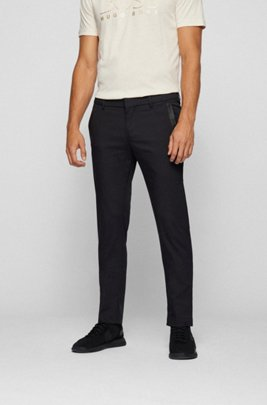 Slim-fit trousers in a cotton blend with taped pockets, Black
