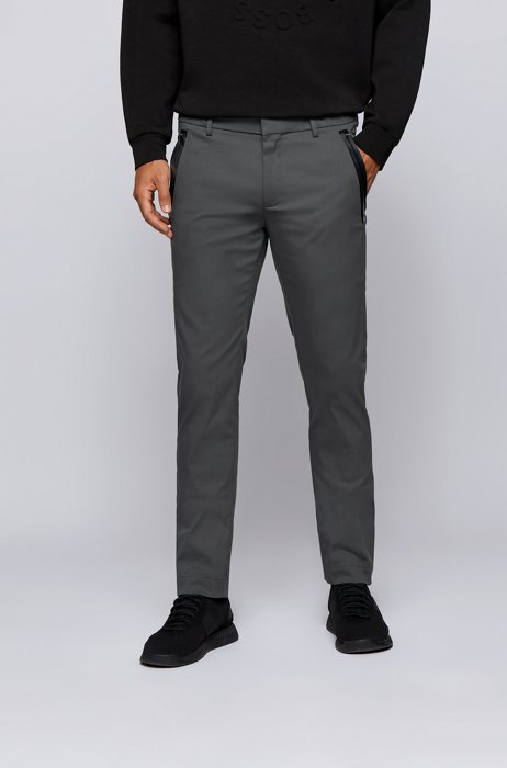 Slim-fit trousers in a cotton blend with taped pockets, Dark Grey