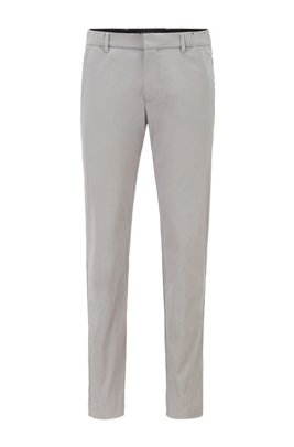 Slim-fit trousers in a cotton blend with taped pockets, Grey