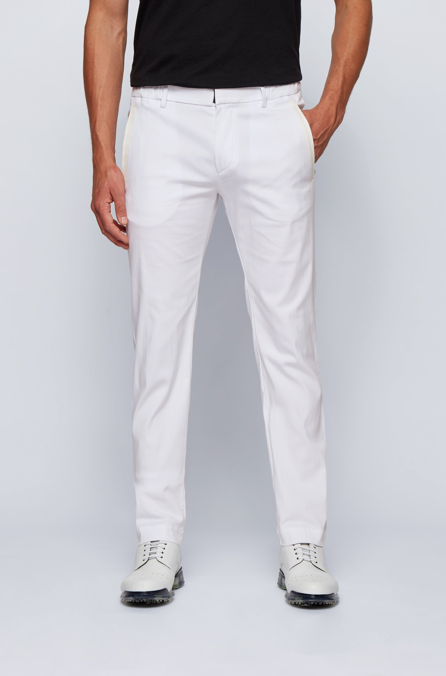 Slim-fit trousers in a cotton blend with taped pockets, White
