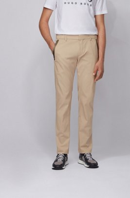 Slim-fit trousers in a cotton blend with taped pockets, Light Beige