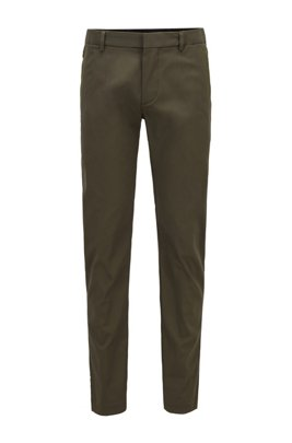 Slim-fit trousers in a cotton blend with taped pockets, Dark Green