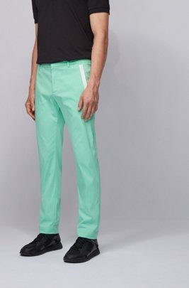 Slim-fit trousers in a cotton blend with taped pockets, Light Green
