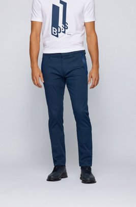 Slim-fit trousers in a cotton blend with taped pockets, Dark Blue
