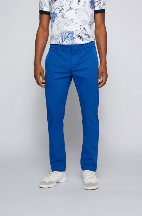 Slim-fit trousers in a cotton blend with taped pockets, Blue