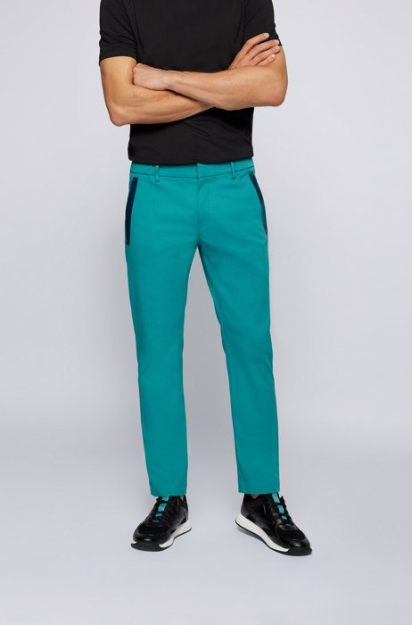 Slim-fit trousers in a cotton blend with taped pockets, Turquoise