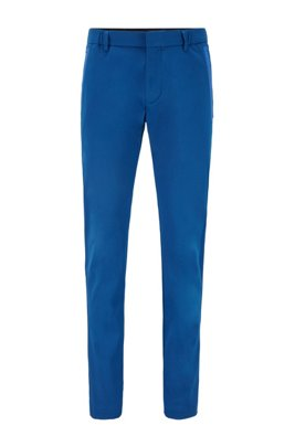 Slim-fit trousers in a cotton blend with taped pockets, Light Blue