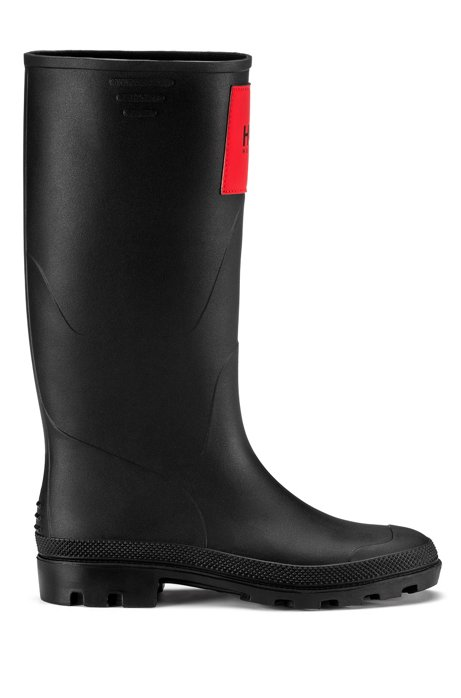 Waterproof wellington boots with signature logo patch, Black
