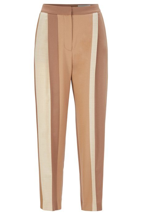 Relaxed-fit flannel trousers with patched contrast stripes, Brown