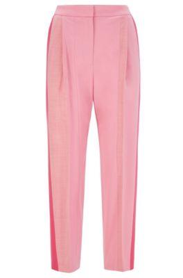 Pantaloni relaxed fit in flanella con righe a contrasto applicate, Rosa chiaro