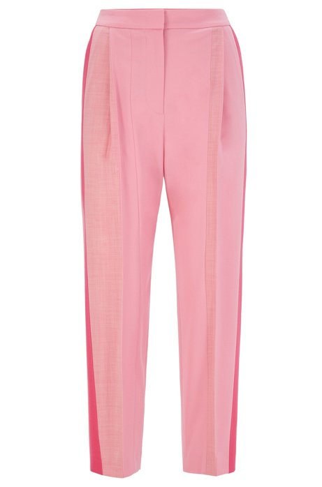 Relaxed-fit flannel trousers with patched contrast stripes, light pink