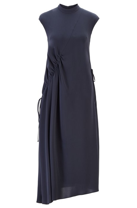 Long-length dress with asymmetric gathering, Blue