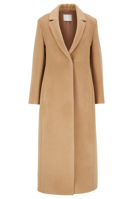 Longline coat in alpaca with virgin wool, Light Beige