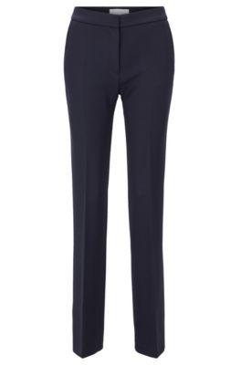 Pantalones extralargos slim fit en lana con corte acampanado, Azul oscuro