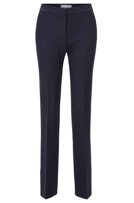 Extra-long slim-fit trousers in wool with bootcut flare, Dark Blue