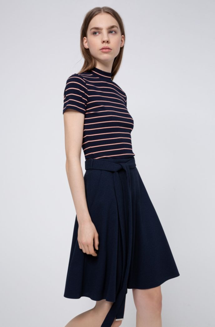 A-line belted skirt in micro-bubble crepe
