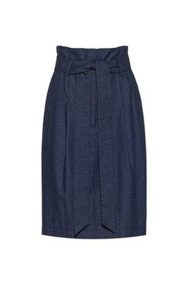 Regular-fit miniskirt in denim with paper-bag waist, Dark Blue