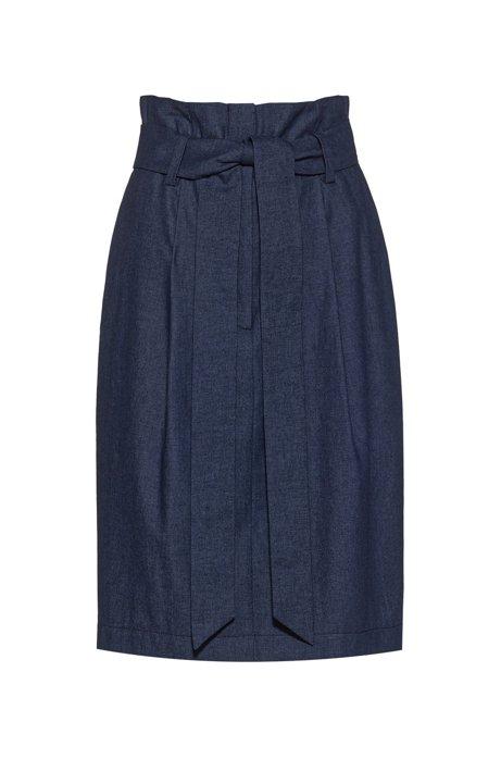 Jupe courte Regular Fit en denim avec taille paper bag, Bleu foncé