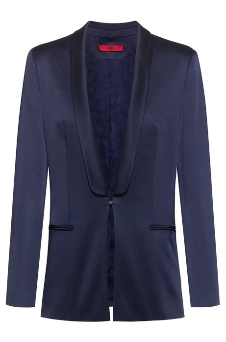 Regular-fit jacket in lustrous fabric with shawl lapels, Dark Blue