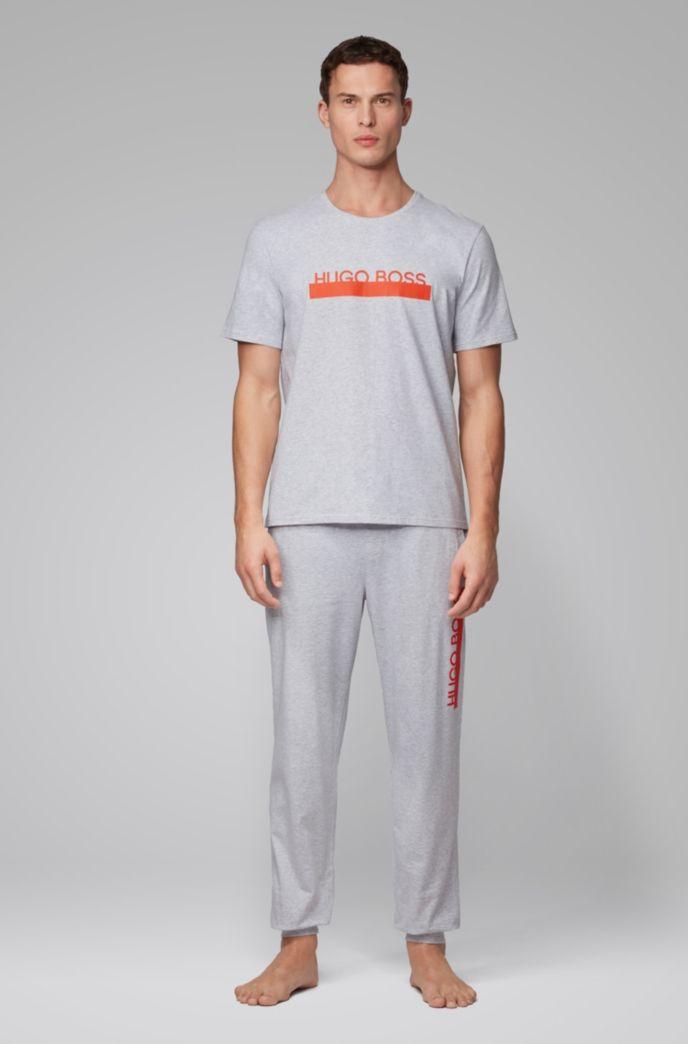 Pyjama-T-Shirt aus Stretch-Baumwolle mit Logo der neuen Saison