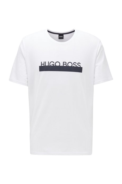 Camiseta de pijama de algodón elástico con logo de la nueva temporada, Blanco