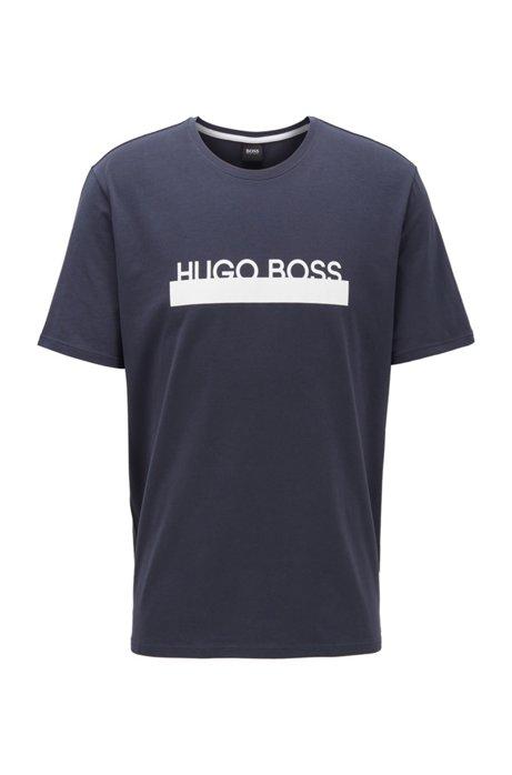 T-shirt de pyjama en coton stretch à logo de la nouvelle saison, Bleu foncé