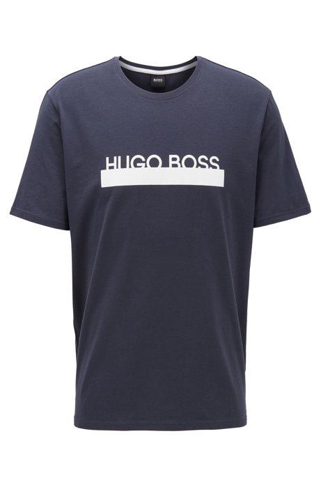 Camiseta de pijama de algodón elástico con logo de la nueva temporada, Azul oscuro